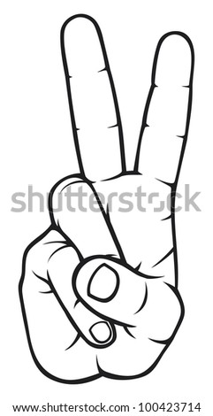The Victory sign, hand gesture - stock photo