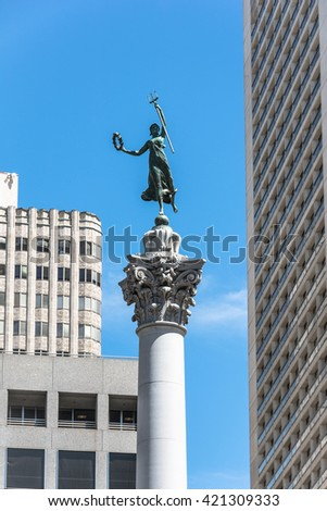 The Victory statue in Union Square, San Francisco San Francisco,California,USA - June 30, 2015 : The Victory statue atop the Dewey monument
