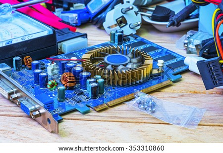 The video card in the repair workshop - stock photo