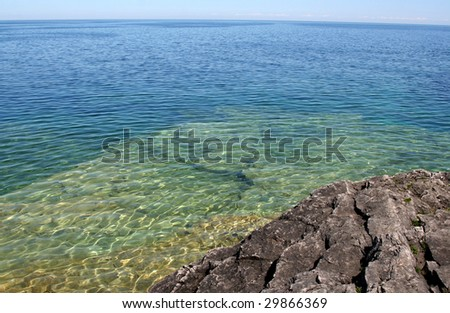 The view from a top the cliffs at Georgian Bay in  Bruce Penisula National Park in Ontario, Canada. - stock photo
