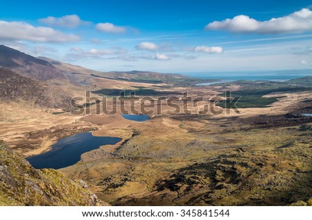 The View from Connor Pass above Dingle, Ireland, County Kerry - stock photo