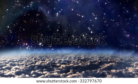 the view from earth of starry night with Zodiac star concept - Elements of this Image Furnished by NASA - stock photo