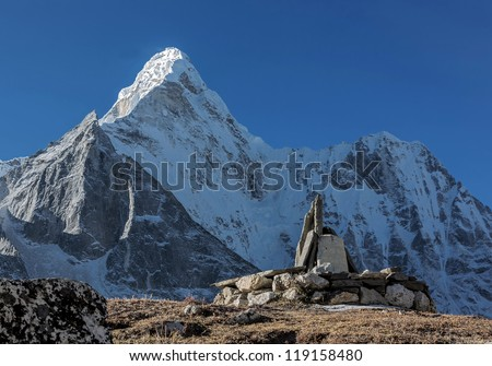 The view from the Chhukhung Ri on the Ama Dablam (6814 m) - Everest region, Nepal - stock photo