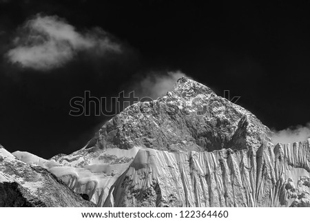The view from the Chhukhung Ri on the fifth in the world in the height of mount Makalu (8481 m) - Nepal, Himalayas (black and white) - stock photo