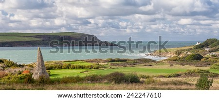 The View From the Church Across the Links Golf Course to the Sea and Coastline Beyond at St Enodoc, Cornwall, UK. - stock photo