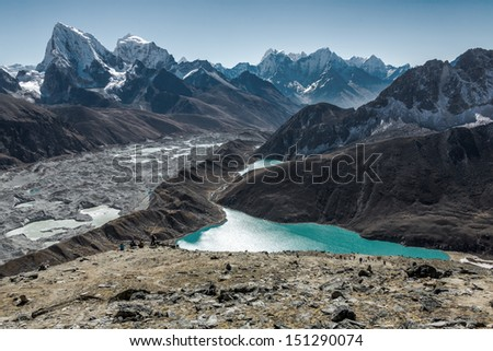 The view from the Gokyo Ri in the glacier, village, and the third lake (Dudh Pokhari) - Nepal, himalayas - stock photo