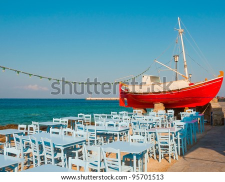 The view from the height of the island of Mykonos - stock photo