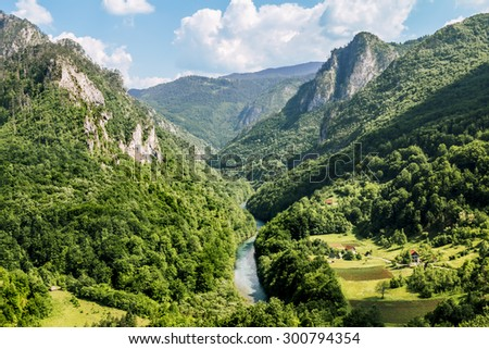 The view from the height of the Tara River Canyon in Montenegro - stock photo