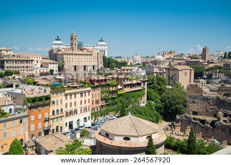 The view from the heights in the direction of the Roman Forum and Capitoline Hill - stock photo