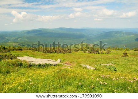 The view from the highest mountain of Jeseniky - stock photo
