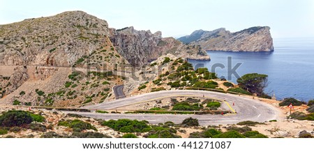 The view from the lighthouse./ Panoramic view of the Cape Formentor on island Majorca, Spain.