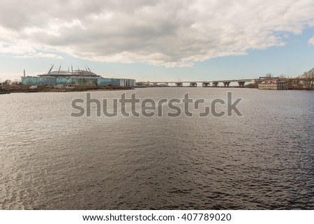 The view from the observation deck of the Western arrow Yelagin Island. Saint-Petersburg, Russia