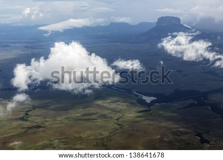 The view from the plane of the Gran Sabana region - Venezuela, Latin America