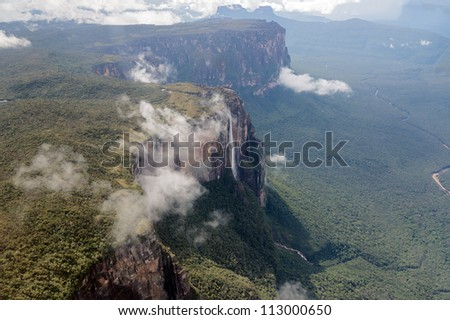 The view from the plane of the source of the river supply Angel Falls is worlds highest waterfalls (978 m) - Venezuela, Latin America - stock photo