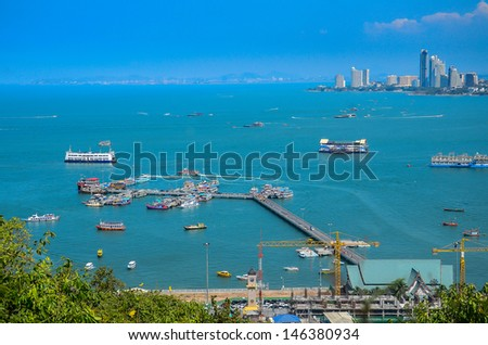 The view from the sea of the buildings and skyscrapers in Pattaya Beach. - stock photo