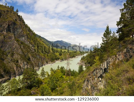 the view from the top of the mountain and the river Katun - stock photo