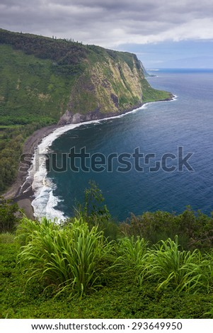 The view from Waipi'o Valley Lookout on Big Island, Hawaii.  - stock photo