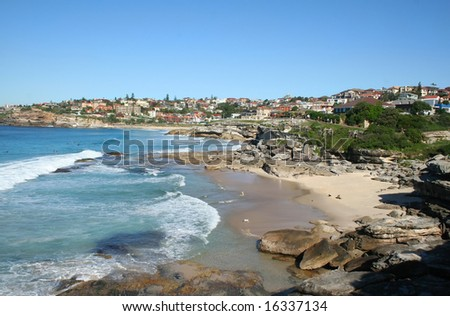 The view looking South towards Bronte from Tamarama in Sydney Australia.