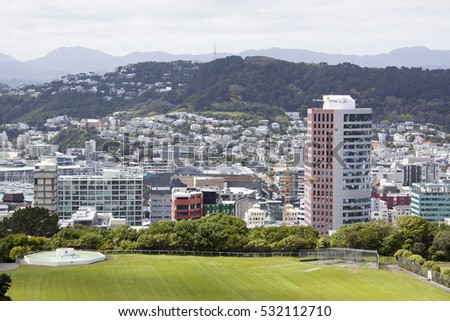 The view of a sports field with Wellington downtown skyline (New Zealand).