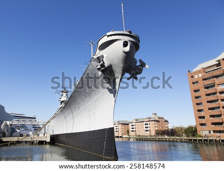 The view of a war ship in Norfolk town (West Virginia). - stock photo