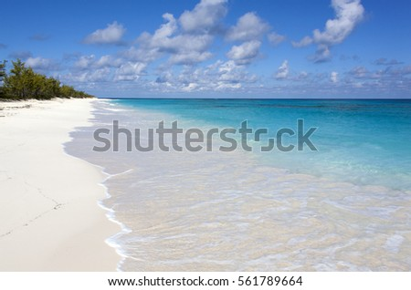 The view of an empty endless beach on uninhabited Half Moon Cay island (Bahamas).