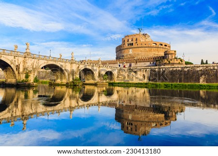 The view of Castle Sant'Angelo and the Ponte Sant'Angelo bridge. Rome, Italy
