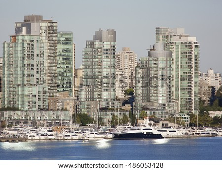 The view of Coal Harbour district in a morning light (British Columbia).