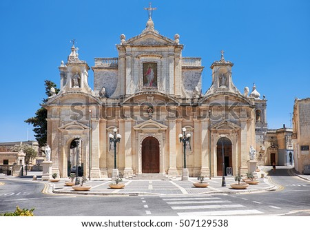 The view of Collegiate Church of St Paul and parish square in Rabat, Malta