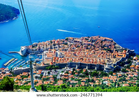 The view of Dubrovnik old town from cable car - stock photo