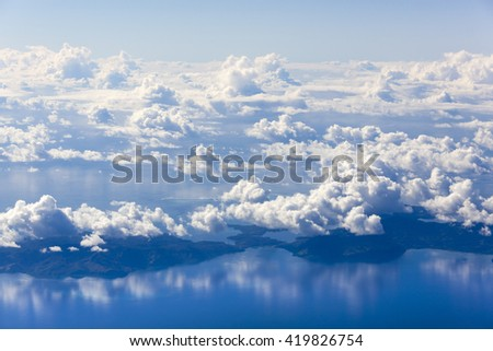The view of Fiji islands through the window of an airplane. - stock photo