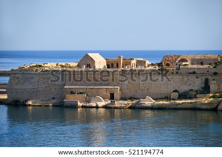 The view of Fort Ricasoli Point Battery in Kalkara peninsula, Malta