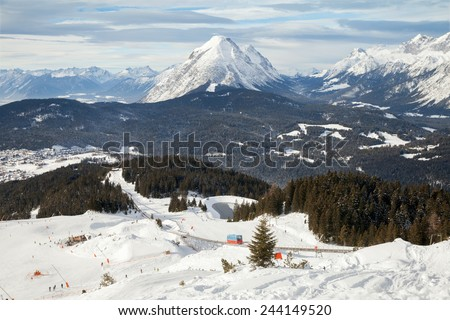 The view of funicular railway line in Olympia Region Seefeld, Austria  - stock photo