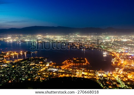 The view of Hakodate, Japan from Mt Hakodate . - stock photo