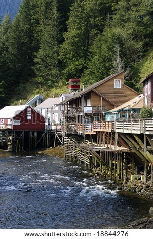 The view of historic Creek Street in Ketchikan, Alaska.