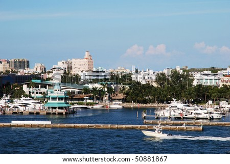 The view of little marina in Miami South Beach (Florida).