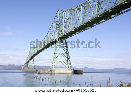 The view of long Astoria Bridge over Columbia River (Astoria, Oregon).