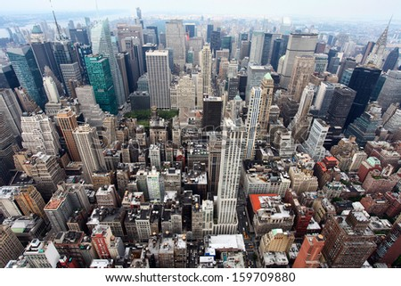 The view of Manhattan from the Empire State Building - stock photo