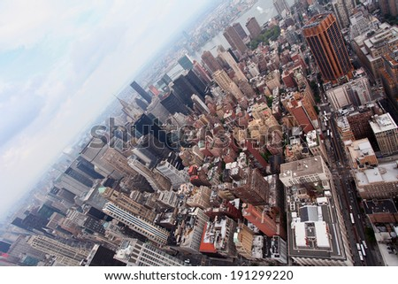 The view of Manhattan from the Empire State Building, New York - stock photo