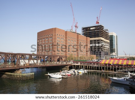 The view of marina with an old bridge in the city of Boston (Massachusetts) - stock photo