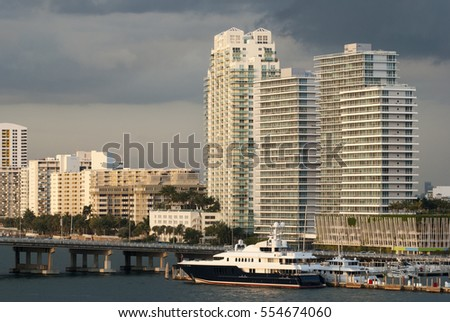 The view of Miami Beach district in the evening light (Florida).