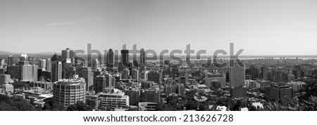 The view of Montreal from the Kondiaronk Belvedere Mount Royal in black and white - stock photo