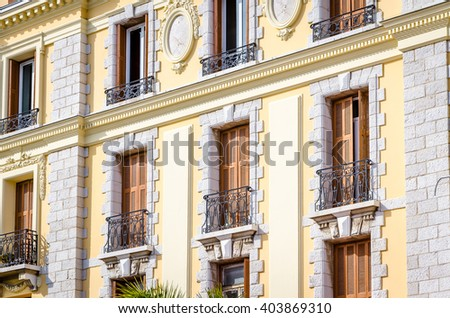 The view of old building fasade, Menton, France, Cote d'Asure