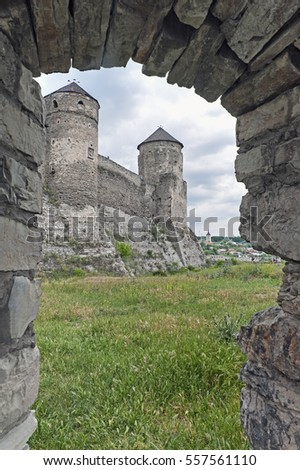 The view of Old Kamenets-Podolsk fortress towers, Kamianets-Podilskyi town in Ukraine
