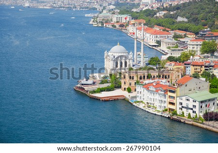 The view of Ortakoy Mosque  and the houses on the Bosphorus shore from the Bosphorus bridge,  Istanbul - stock photo