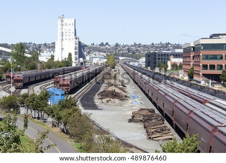 The view of railway, the industrial part of Seattle city (Washington).