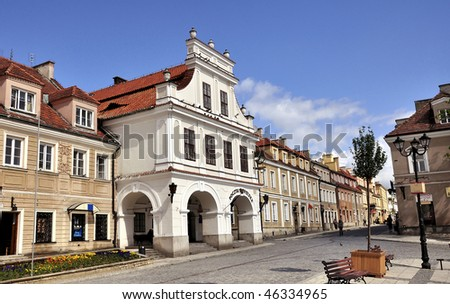The view of Sandomierz downtown at daylight. Poland. - stock photo