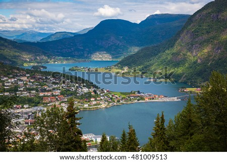 The view of small Norway city Sogndal
