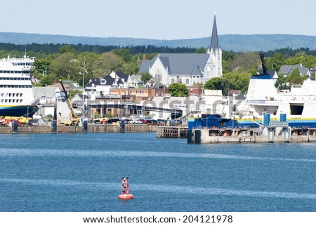 The view of Sydney, port of call in Nova Scotia, Canada. - stock photo