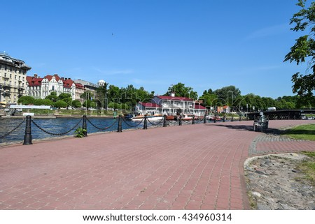 The view of the city from the waterfront Hare Island in St. Petersburg, Russia. - stock photo