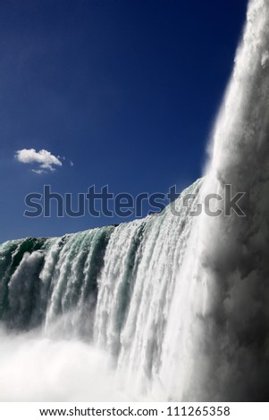 The view of the horse shoe falls on the blue sky background. Niagara Falls, Ontario, Canada - stock photo